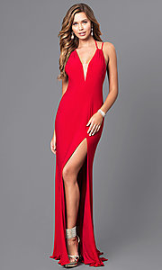 V-Neck Floor-Length Prom Dress with Multi-Strap Back