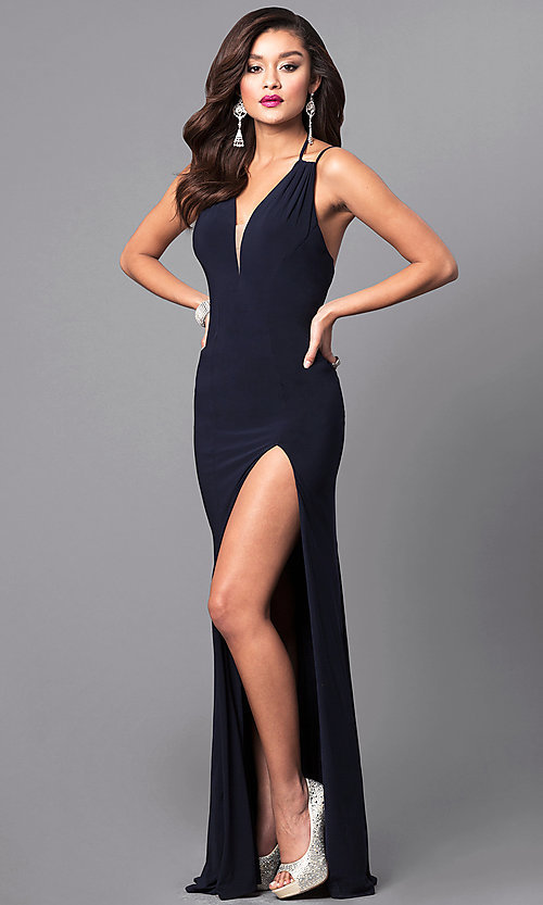 Image of v-neck long formal dress with multi-strap back. Style: FA-7920 Detail Image 1
