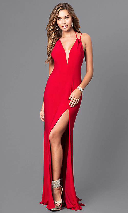 Image of v-neck long formal dress with multi-strap back. Style: FA-7920 Back Image