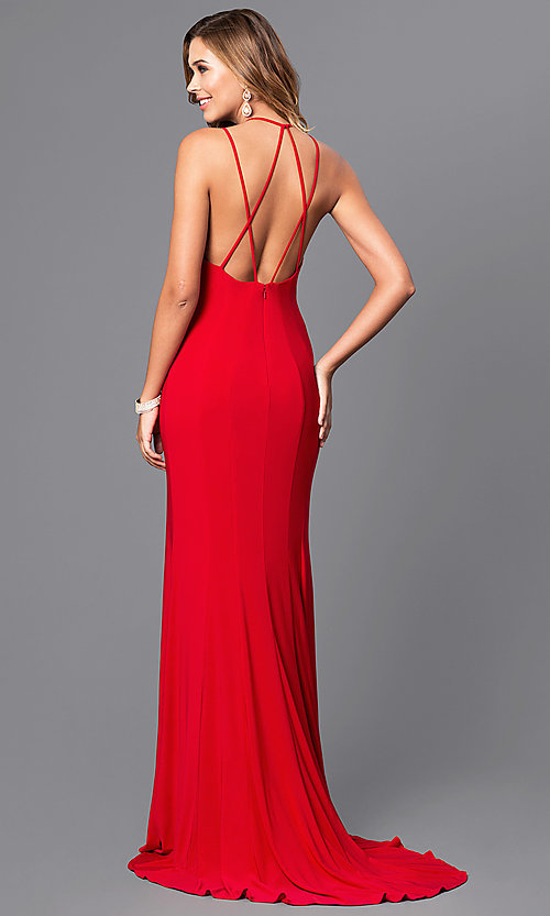 Image of v-neck long formal dress with multi-strap back. Style: FA-7920 Front Image