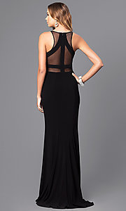 Image of long Faviana illusion prom dress with sheer midriff. Style: FA-7921 Detail Image 2
