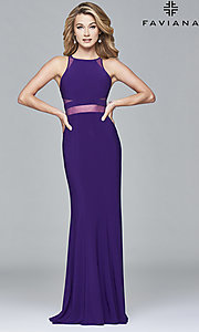 Image of long Faviana illusion prom dress with sheer midriff. Style: FA-7921 Detail Image 3