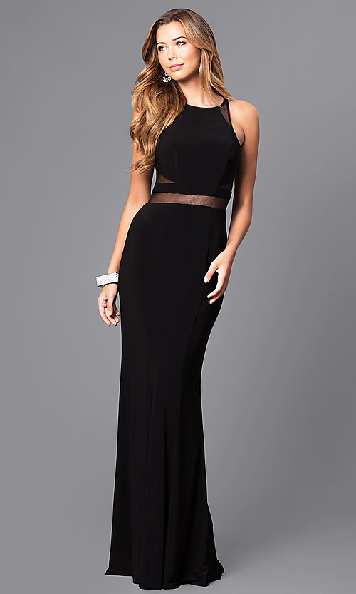 Image of long Faviana illusion prom dress with sheer midriff. Style: FA-7921 Detail Image 1