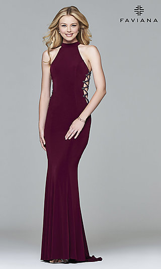 High-Neck Long Formal Gown by Faviana