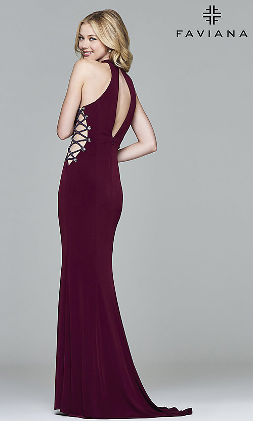 Image of high-neck long formal gown by Faviana. Style: FA-7931 Back Image