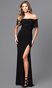 Long Lace-Embellished Off-the-Shoulder Faviana Prom Dress