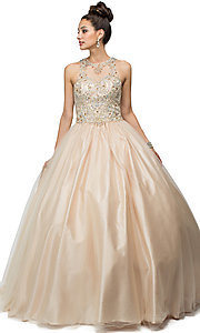 High Neck Beaded Quinceanera Dress