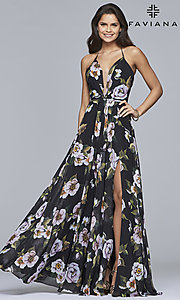 Image of floral-print v-neck long corset prom dress by Faviana. Style: FA-7946 Detail Image 1