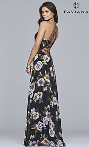 Image of floral-print v-neck long corset prom dress by Faviana. Style: FA-7946 Detail Image 2