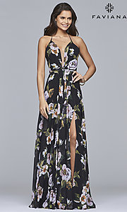 Image of floral-print v-neck long corset prom dress by Faviana. Style: FA-7946 Detail Image 5