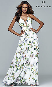 Image of floral-print v-neck long corset prom dress by Faviana. Style: FA-7946 Detail Image 7