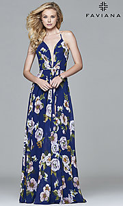 Image of floral-print v-neck long corset prom dress by Faviana. Style: FA-7946 Detail Image 6