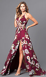 Floral V-Neck Long Corset Prom Dress by Faviana