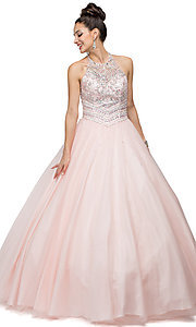 Long Sleeveless Halter Quinceanera Dress