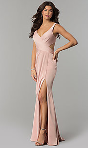 Image of v-neck prom dress with open back by Faviana. Style: FA-7954 Detail Image 2