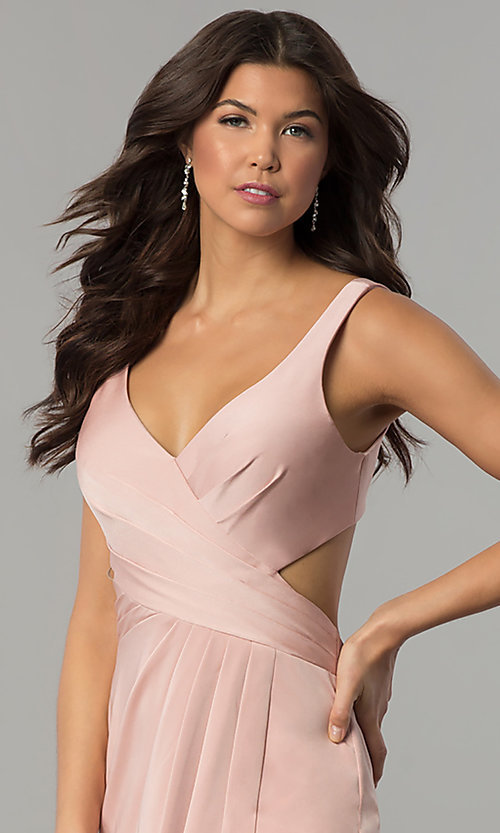 Image of v-neck prom dress with open back by Faviana. Style: FA-7954 Detail Image 3