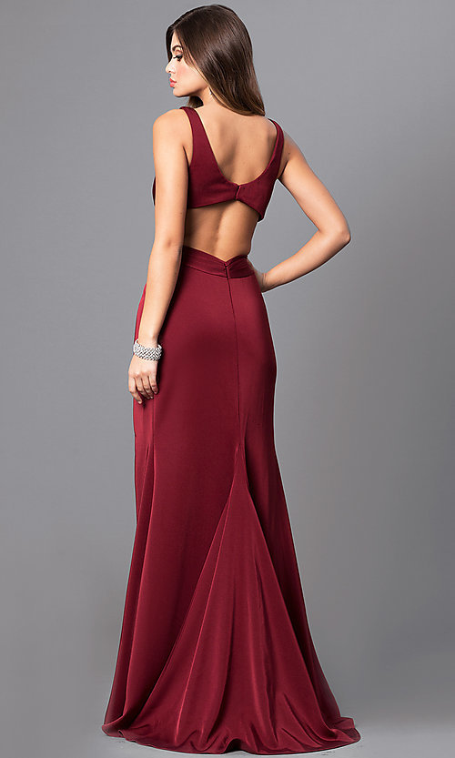 Image of v-neck prom dress with open back by Faviana. Style: FA-7954 Back Image