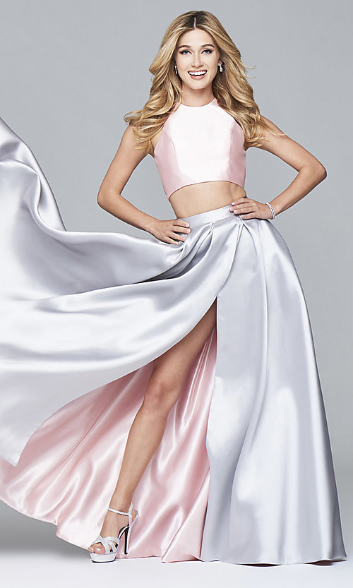 Image of two-piece long formal high-neck gown by Faviana Style: FA-7962 Front Image