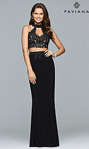 Image of Faviana two-piece long prom dress with lace applique. Style: FA-7967 Detail Image 3