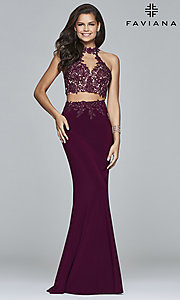 Image of Faviana two-piece long prom dress with lace applique. Style: FA-7967 Front Image
