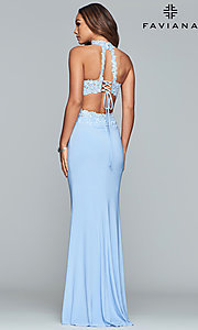 Image of Faviana two-piece long prom dress with lace applique. Style: FA-7967 Detail Image 5