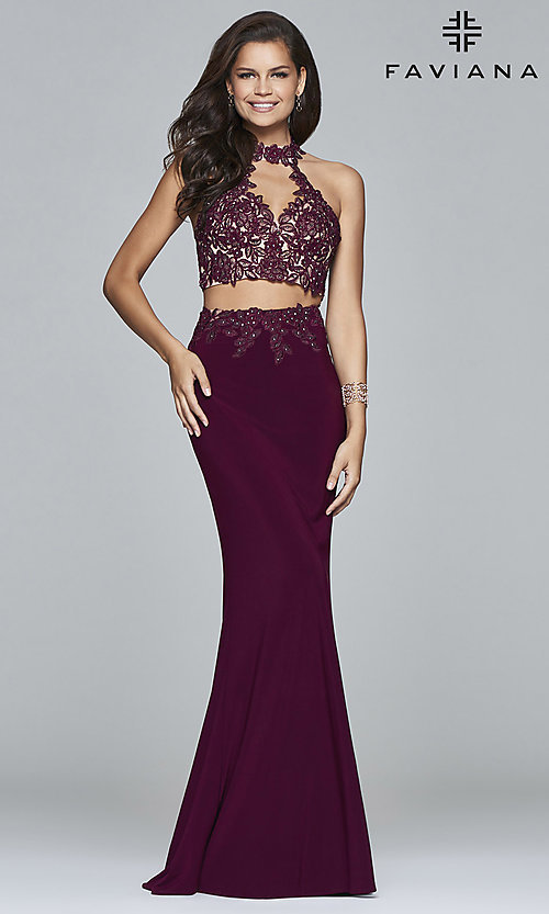 Image of Faviana two-piece long prom dress with lace applique. Style: FA-7967 Detail Image 1