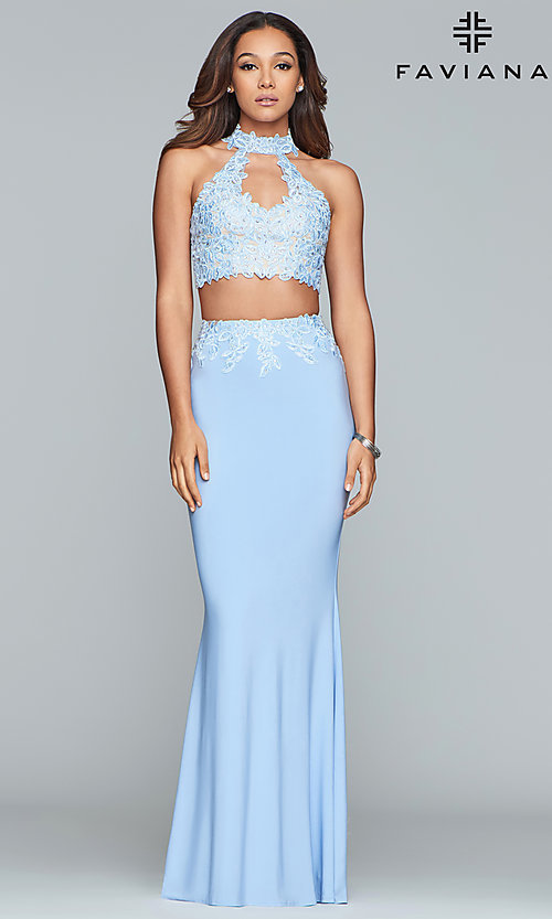 Image of Faviana two-piece long prom dress with lace applique. Style: FA-7967 Detail Image 4
