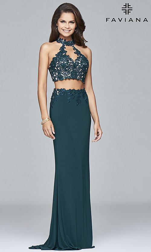 130c1048670 Image of Faviana two-piece long prom dress with lace applique. Style  FA