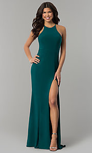 Image of long prom dress with high neckline by Faviana. Style: FA-7976 Detail Image 3
