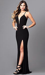 Faviana Deep V-Neck Corset Prom Dress with Slit