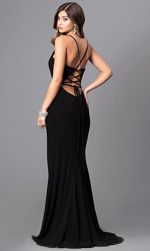 Long Faviana V-Neck Corset-Back Prom Dress - PromGirl