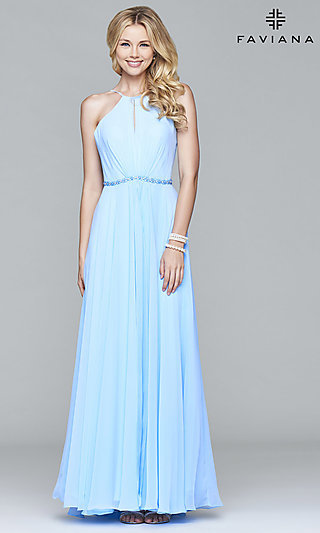 Long Open-Back High-Neck Faviana Prom Dress