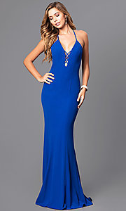 Long Prom Dress with V-Neck and Ruffled Train