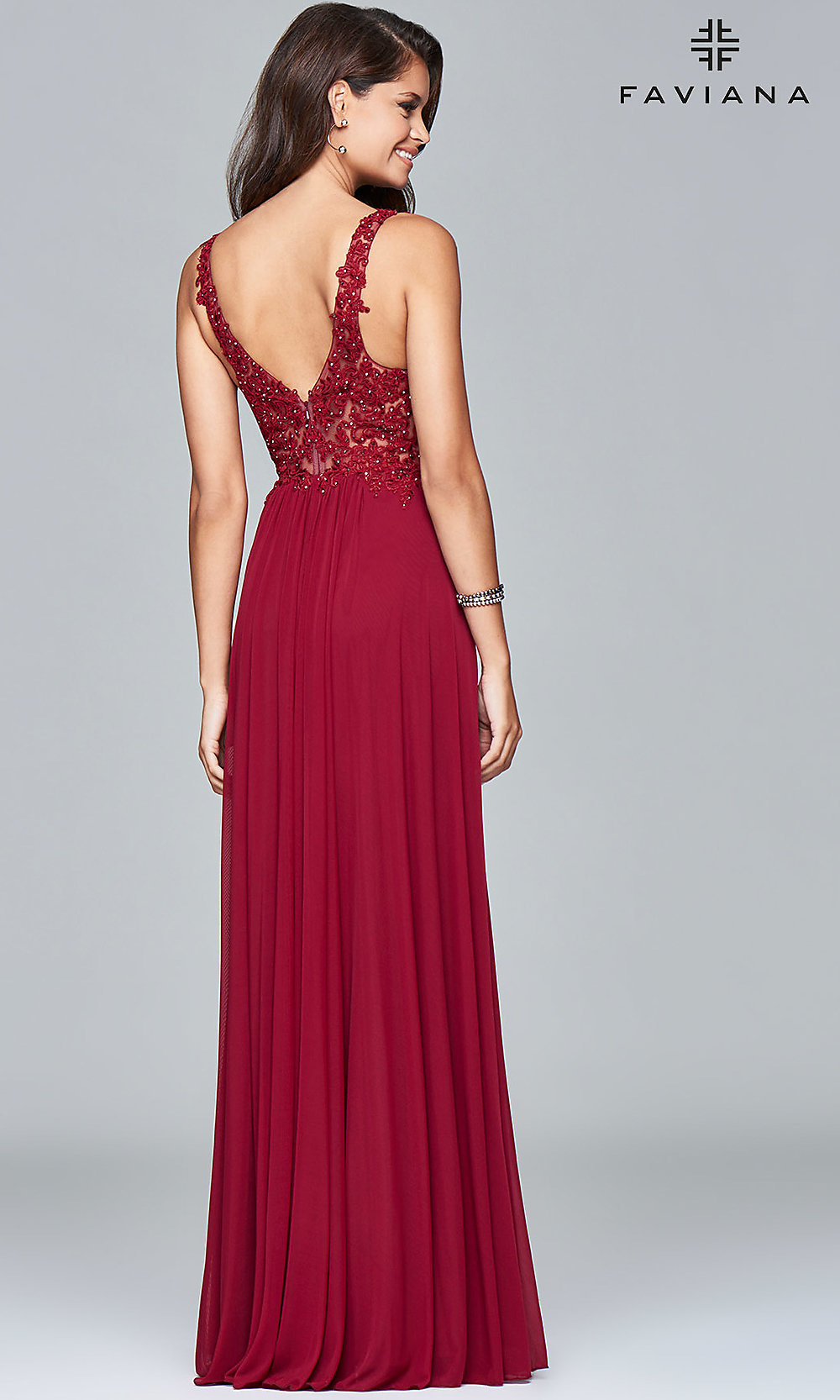 laceapplique vneck faviana prom dress  promgirl