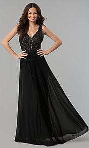 Image of v-neck lace-applique prom dress by Faviana. Style: FA-8000 Detail Image 2