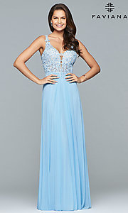 Image of v-neck lace-applique prom dress by Faviana. Style: FA-8000 Detail Image 4