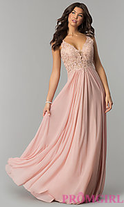 Image of v-neck lace-applique prom dress by Faviana. Style: FA-8000 Detail Image 3