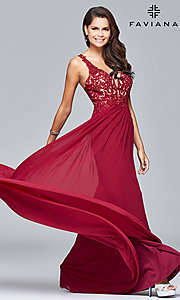 Image of v-neck lace-applique prom dress by Faviana. Style: FA-8000 Front Image