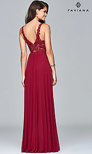 Image of v-neck lace-applique prom dress by Faviana. Style: FA-8000 Back Image