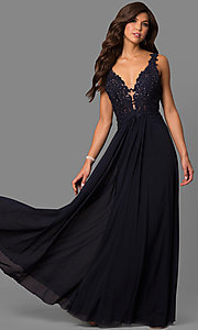 Image of v-neck lace-applique prom dress by Faviana. Style: FA-8000 Detail Image 1