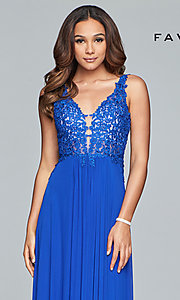 Image of v-neck lace-applique prom dress by Faviana. Style: FA-8000 Detail Image 6