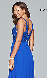 Image of v-neck lace-applique prom dress by Faviana. Style: FA-8000 Detail Image 7