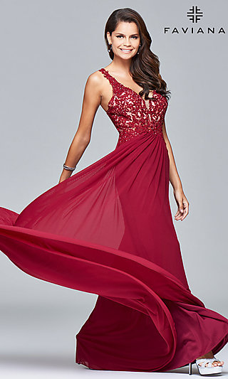 Lace-Applique V-Neck Faviana Prom Dress - PromGirl