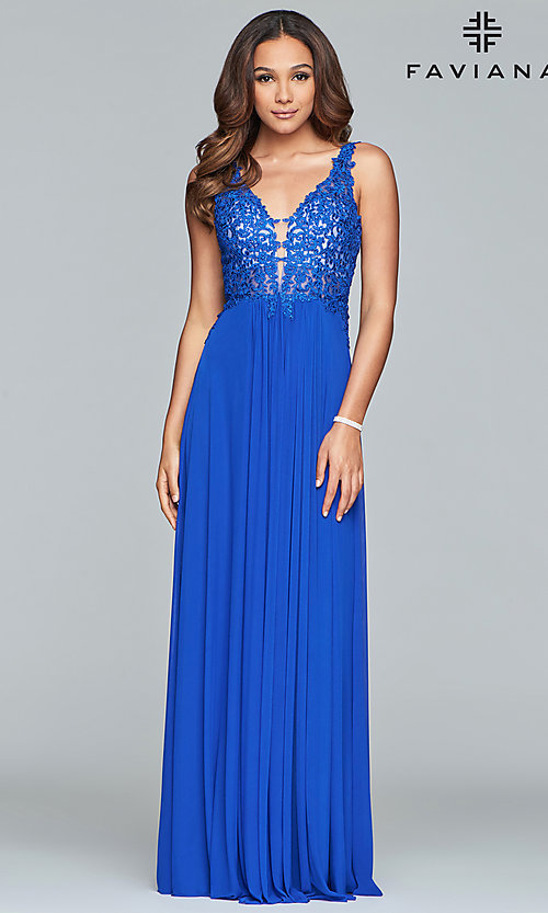 Image of v-neck lace-applique prom dress by Faviana. Style: FA-8000 Detail Image 5
