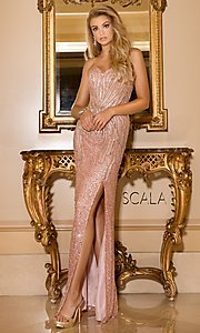 Scala Strapless Sweetheart Sequin Prom Dress