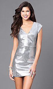 Short Silver Sequin Holiday Party Dress with V-Neck