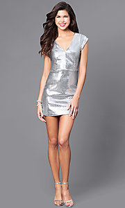 Image of short silver sequin holiday party dress with v-neck. Style: JTM-JMD7291 Detail Image 1
