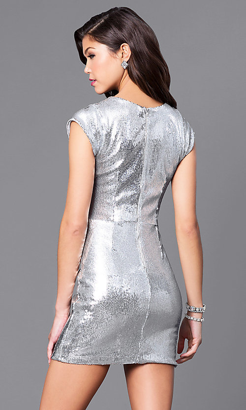 Image of short silver sequin holiday party dress with v-neck. Style: JTM-JMD7291 Back Image