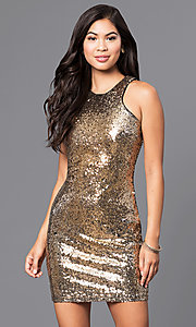 Image of black sequin holiday party mini dress. Style: JTM-JMD7076 Detail Image 2