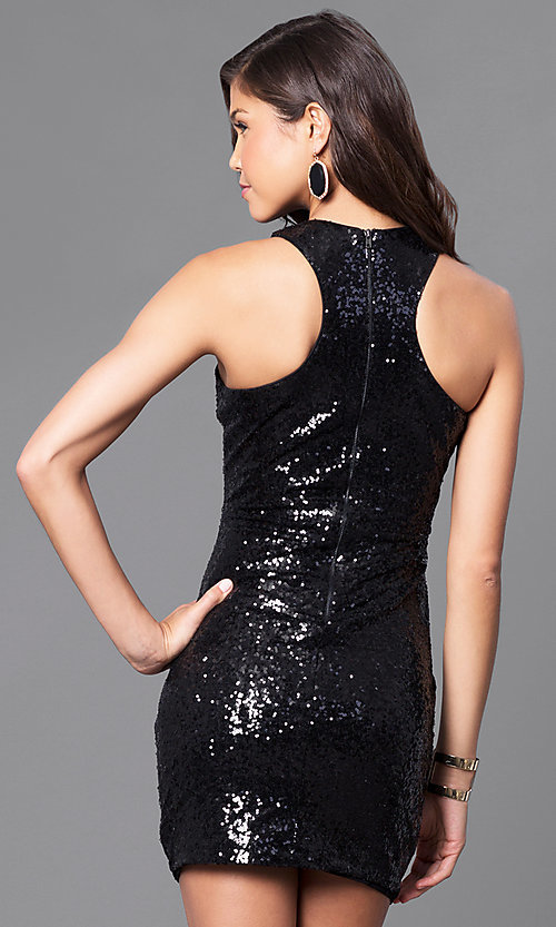 Image of black sequin holiday party mini dress. Style: JTM-JMD7076 Back Image